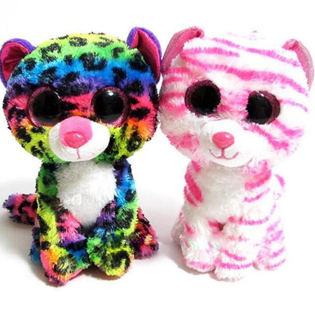 6 Ty Beanie Boo S Asia Pink Tiger And Dotty Rainbow Leopard Plush