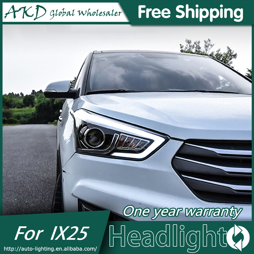 Car Styling Head Lamp for Hyundai IX25 Headlights 2015 Creta LED Headlight DRL Daytime Running Light Bi-Xenon HID Accessories new headlight headlamp left right for hyundai sonata 8 head led light bar drl 2011 2015 h7 bi xenon