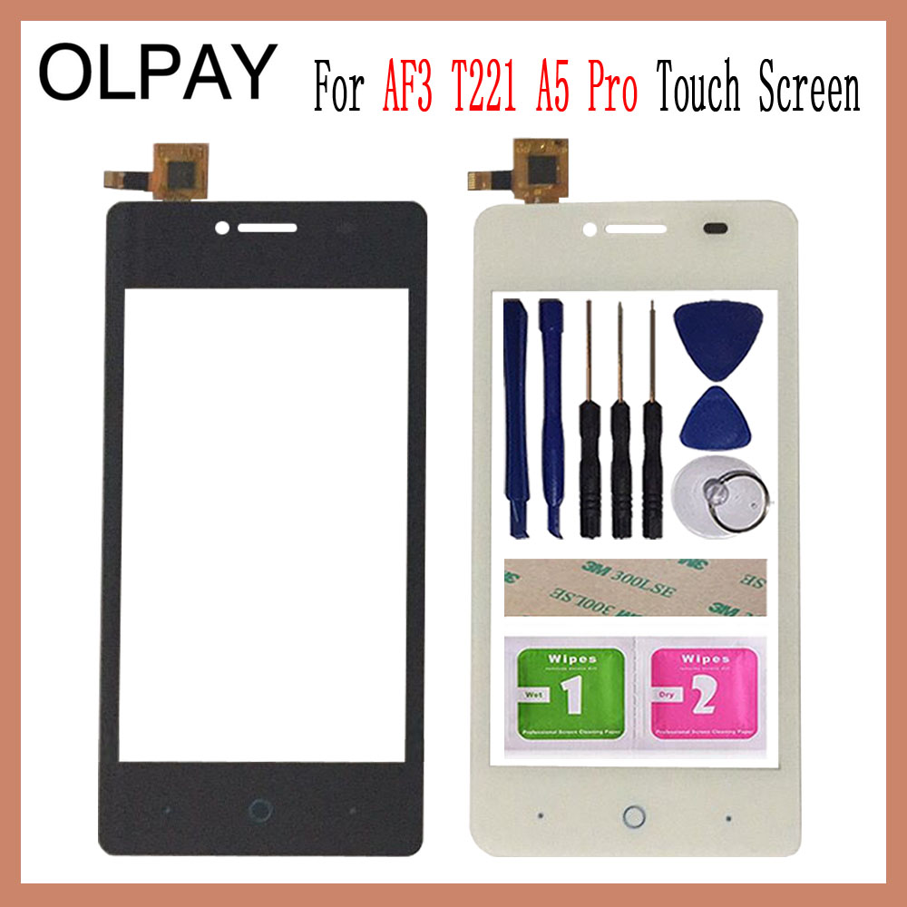 OLPAY 4.0'' Touch Glass Panel For ZTE Blade AF3 T221 A5 Pro Touch Screen Digitizer Glass Sensor Tools Free Adhesive+Clear Wipes