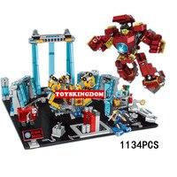 Hot super heroes marvel ironman experimental base moc building block Hulkbuster mech iron man tony Stark figures bricks toys