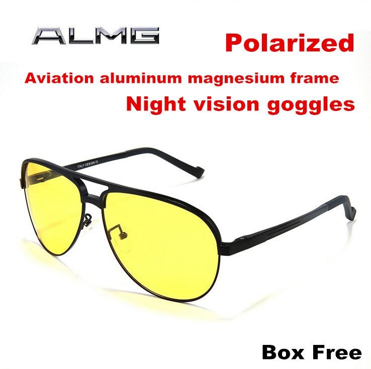 2015 Aluminum Magnesium Men Polarized Driving Sunglasses Yellow Lens font b Night b font font b