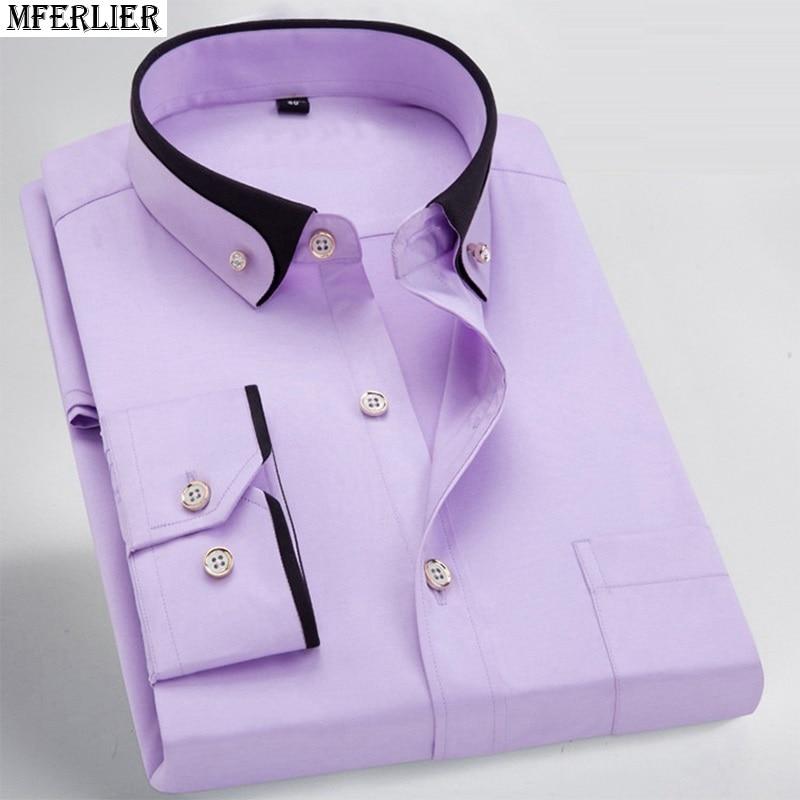 Image 3 - men dress shirt formal long sleeve large size big 7XL 8XL patchwork wedding shirts Pink navy blue 9XL 10XL 12XL blouse purple-in Casual Shirts from Men's Clothing