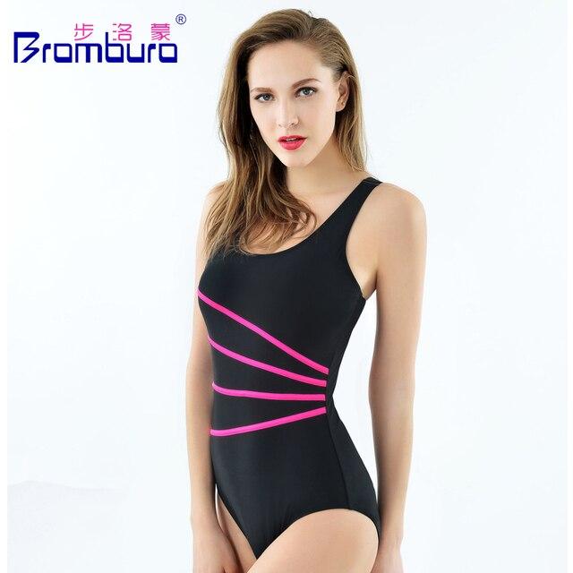 9d7c73c21e 2016 Hot Sale Solid Black Professional Sports Swimwear Women One Piece  Swimsuit Striped Racerback Brand Slimming Bathing Suit