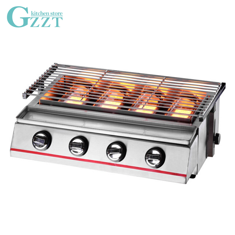 Adjustable Height Gas BBQ Grill Stainless Steel 4 Burners Outdoor Picnic Barbecue Grill 560*250mm Grill Size