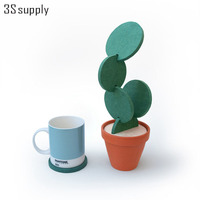 1 Set Novelty Cactus Placemat Table Desk Decorations Detachable Heat Insulated Table Mat Drink Coasters Modern Gifts Storage Pot