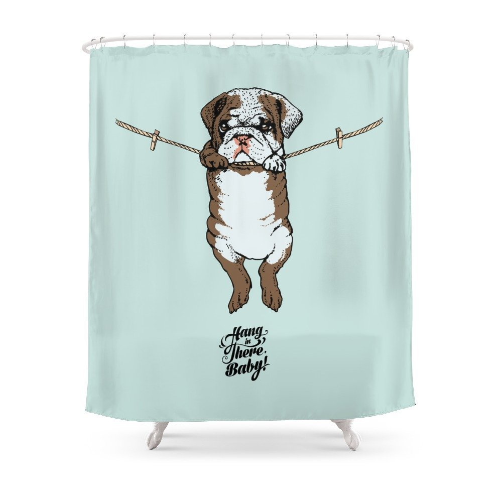 Hang In There Baby English Bulldog Shower Curtain Customized Size Curtains From Home Garden On Aliexpress