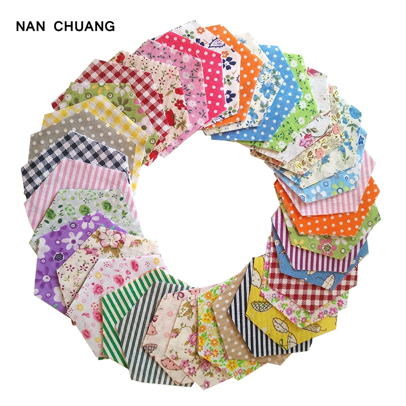 100Pcs/Lot Random Shabby Chic Cotton Fabric With Hexagon Shape/Low Density&Thin Fabric For Quilting&Sewing Material/Mix Designs