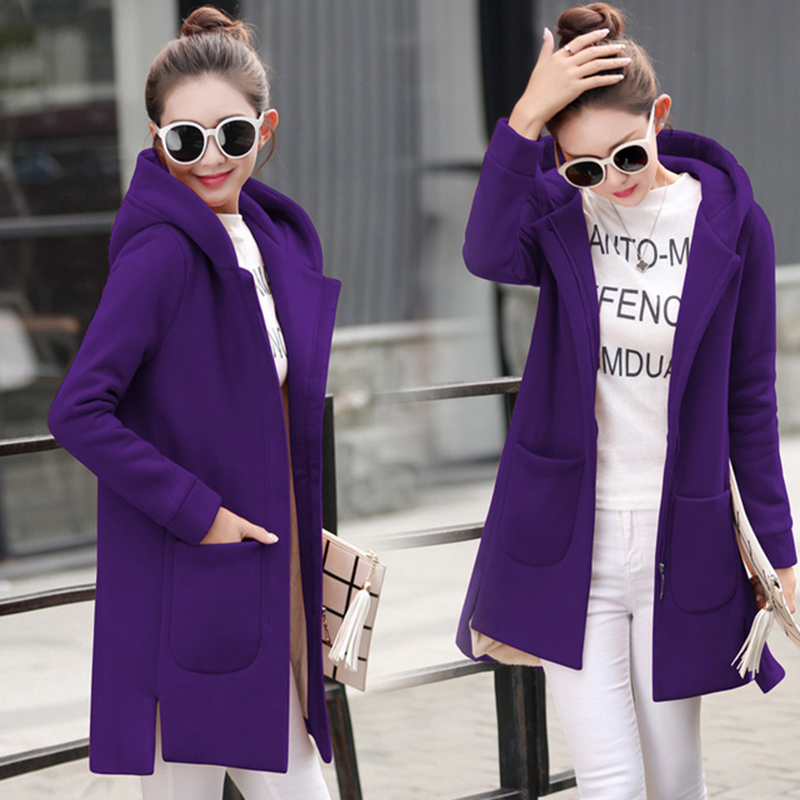 Autumn Winter Women's Fleece Jacket Coats Female Long Hooded Coats Outerwear Warm Thick Female Red Slim Fit Hoodies Jackets 34