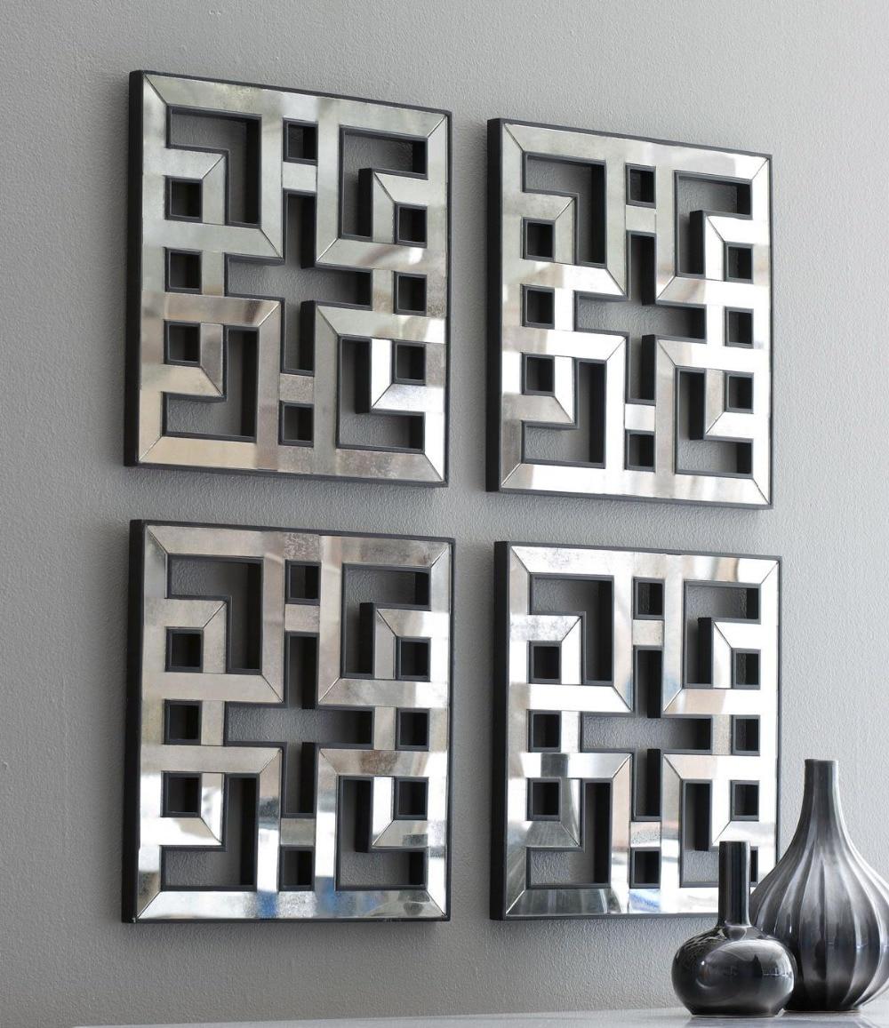 Mirrored wall decor fretwork square mirror framed wall art ...