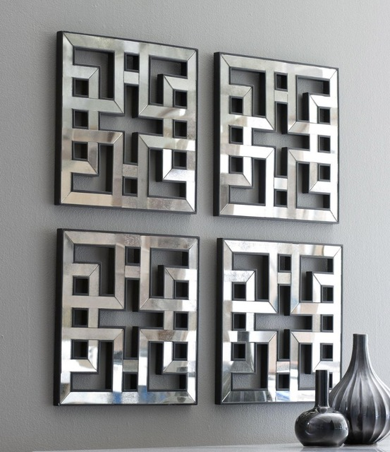 mirrored wall decor fretwork square mirror framed wall art df1308 - Mirrored Wall Decor