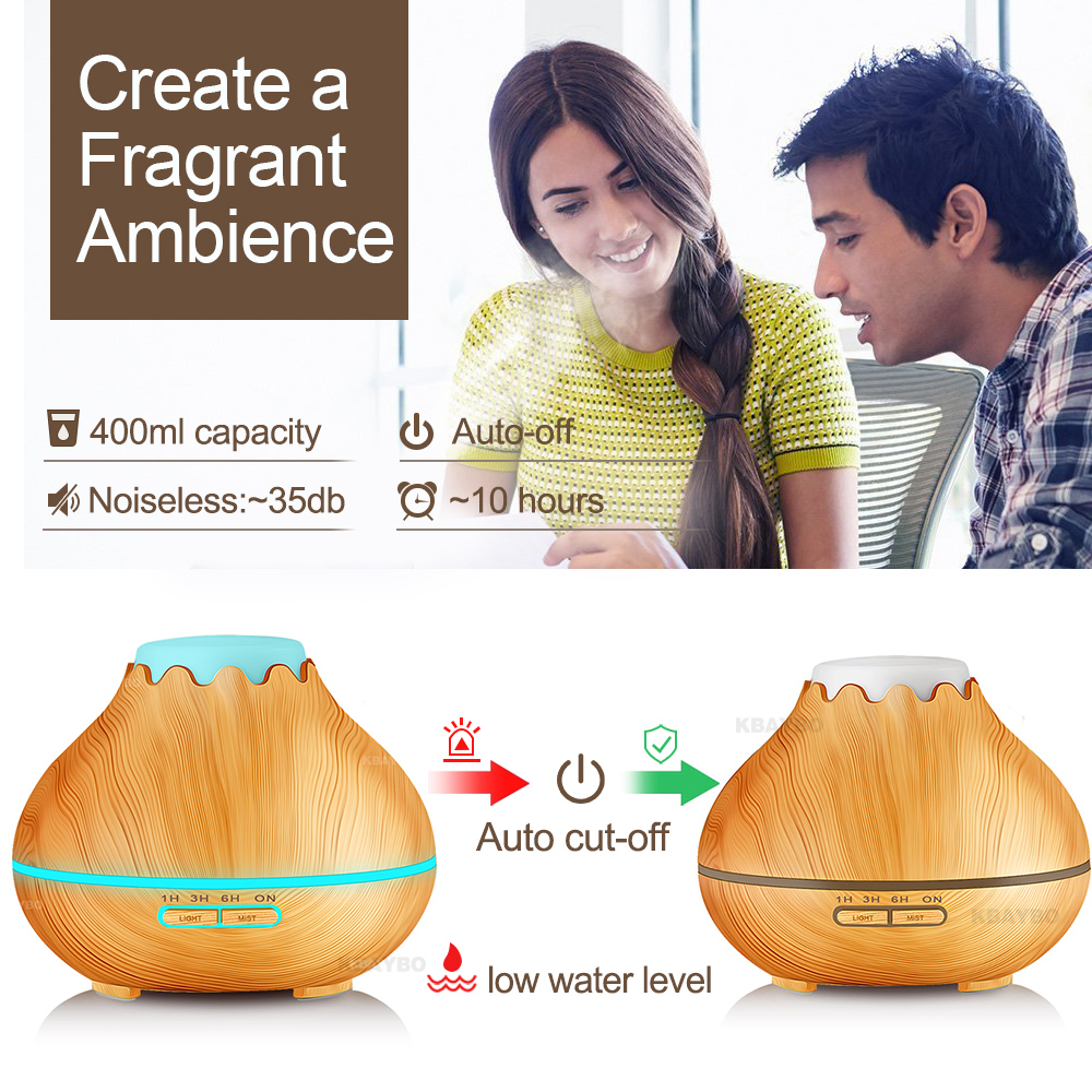 Image 4 - KBAYBO 400ml Air Humidifier Essential Oil Diffuser Aroma LED Lamp Aromatherapy Electric Aroma Diffuser Mist Maker for Home Woodmist makerair humidifieraroma diffuser -