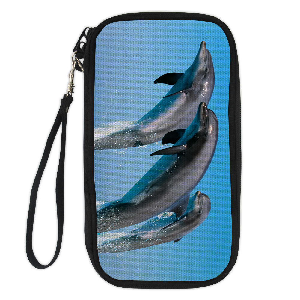 FORUDESIGNS Tropical Fish, Dolphin Women Wallets Female Small Wallet Long Coin Purse Holders Blue Purses With Money Phone Bags