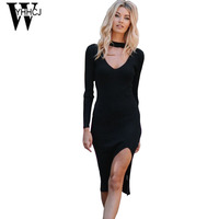WYHHCJ 2017 New V Neck Autumn And Winter Dress Warm Thicken Knit Long Sleeve Women Dresses