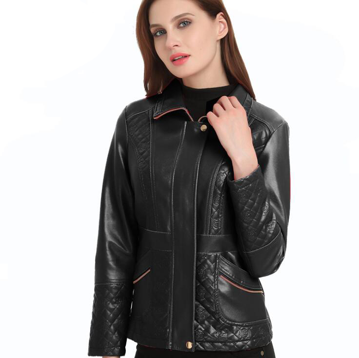 Nouvelles Noir Moto 004 Cuir E1106 De rouge Faux Veste Mode Femmes 2019 STawvW7fdS