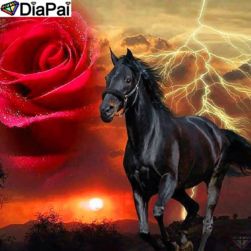 DiaPai 100 Full Square Round Drill 5D DIY Diamond Painting quot Rose flower horse quot Diamond Embroidery Cross Stitch 3D Decor A19369 in Diamond Painting Cross Stitch from Home amp Garden