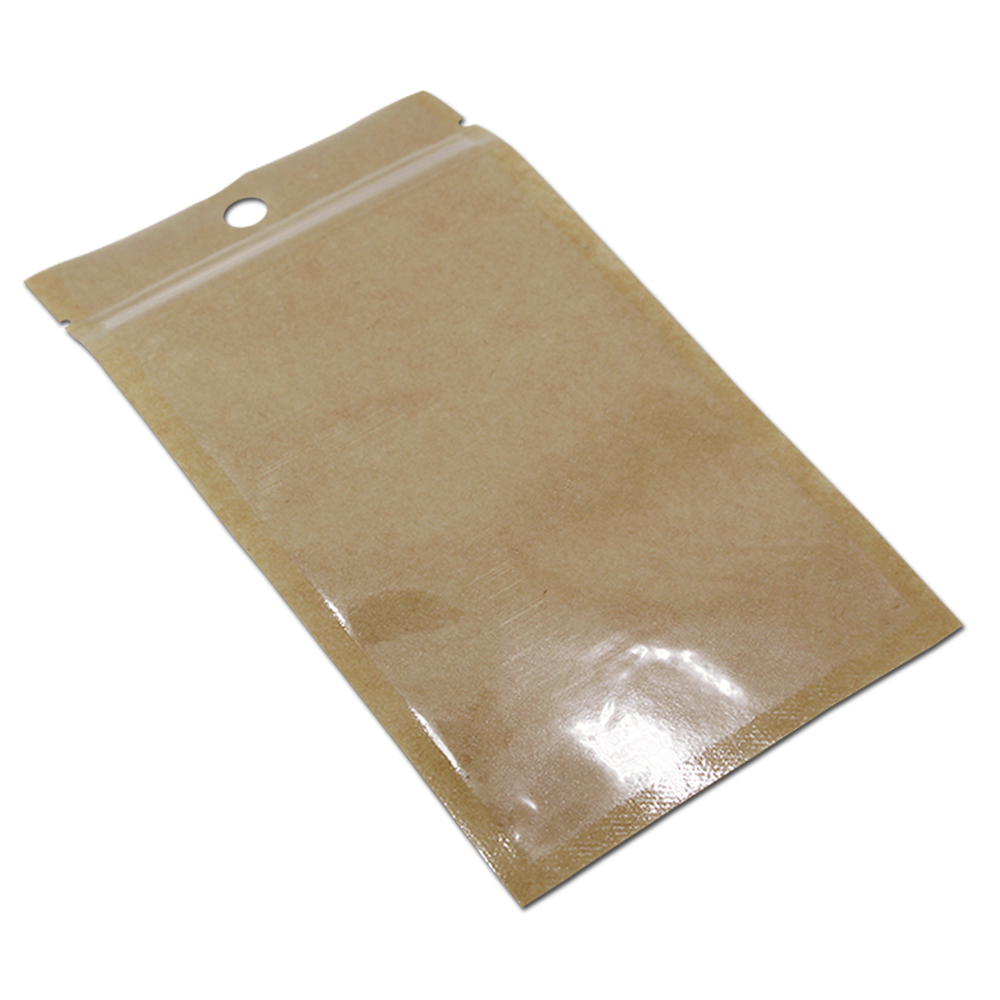 Clear Front Zip Lock Plastic Kraft Paper Bag Resealable Dried Food Beans Nuts Candy Package Brown Bags Pouch With Zipper In Storage From Home