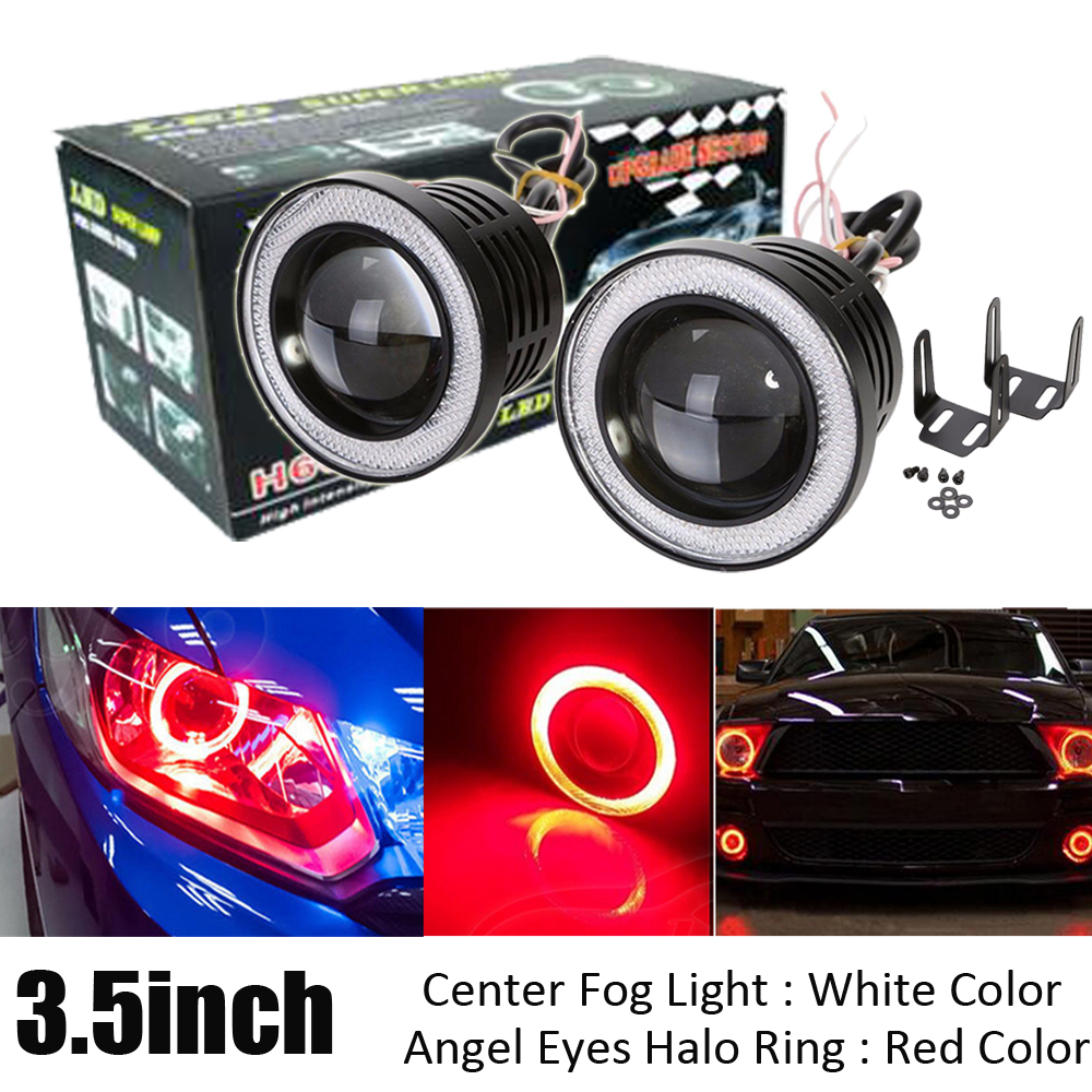 2X 3.5 inch LED Round COB Projector Fog Light High Power Bulbs with Angel Eyes Halo Ring Red White Green Blue Pink Amber DRL polaris rzr 900 rzr 1000 xp set led headlight with halo rings angel eyes white red yellow green blue