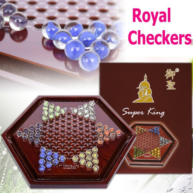 High quality genuine Royal St court checkers high - grade checkers glass beads Checker wooden checkers dribbling drawer Checkers