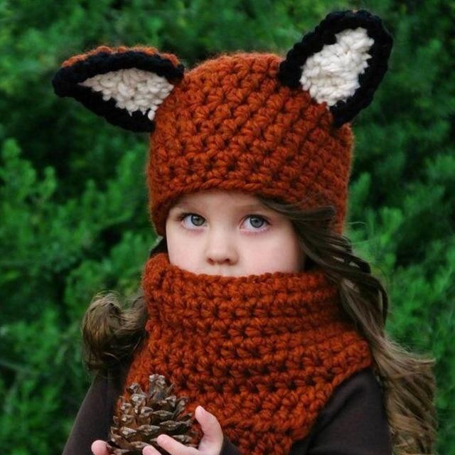 Winter Kids Crochet Hat Scarf Set Handmade Child Squirrel Cartoon