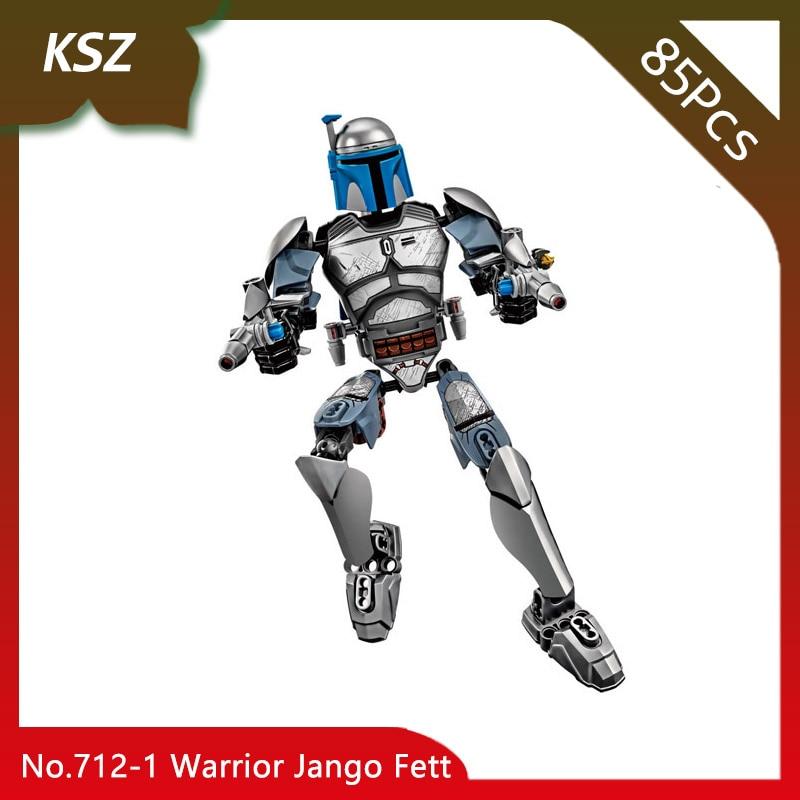 Doinbby Store KSZ 712-1 85pcs Star Space Wars Series Warrior Jango Fett Model Building Blocks Bricks For Children Toys 75107