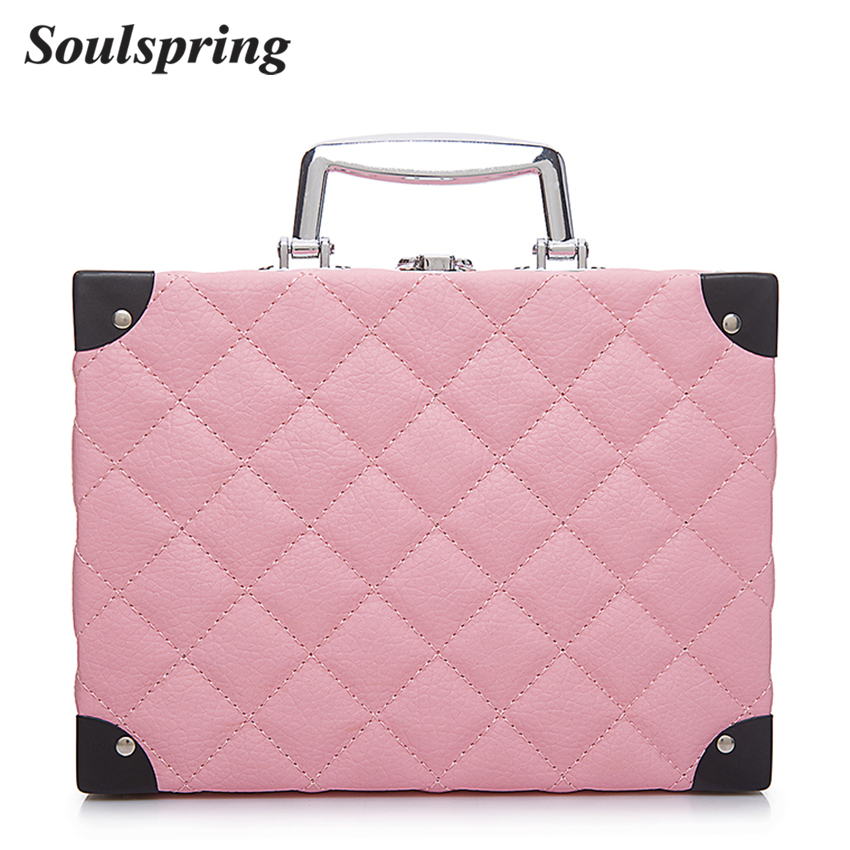 Fashion Diamond Lattic Cosmetic Bag Box Elegant Women Make up Bag Toiletry Suitcase Makeup Organizer Mirror Tote Luxury 2018 New new women fashion pu leather cosmetic bag high quality makeup box ladies toiletry bag lovely handbag pouch suitcase storage bag