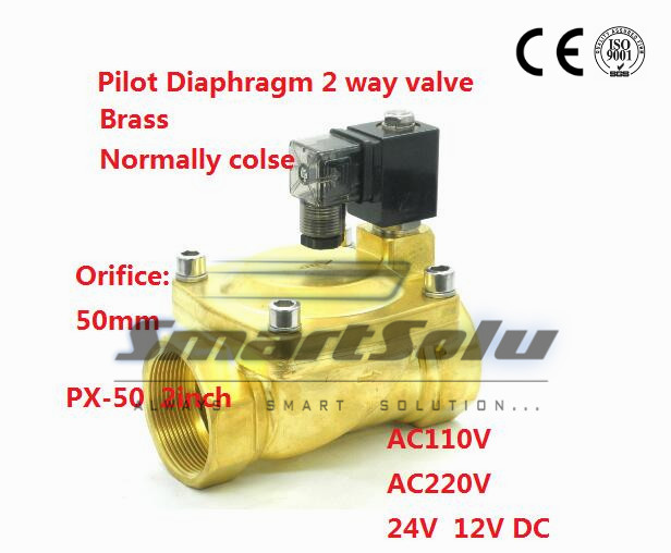 Free shipping 2 way Pilot Diaphragm Brass 24v dc pneumatic normally closed electric 2 inch water Solenoid Valve 50mm PX-50 NBR 5 way pilot solenoid valve sy3420 5d 03