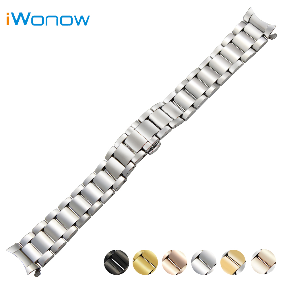 Stainless Steel Watch Band 18mm 20mm 22mm for Jacques Lemans Curved End Strap Butterfly Buckle Belt Wrist Bracelet Black Silver 18mm 20mm 22mm stainless steel watch band butterfly buckle strap men women universal wrist belt link bracelet black gold silver