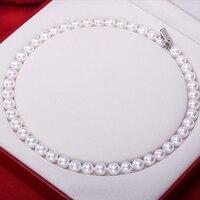 Sinya AAA класс Пресноводные круглые жемчужные бусы ожерелье 18 дюймов 46 см 7 мм 10 мм Большой жемчуг Нобелевские украшения Высокий блеск для женщ