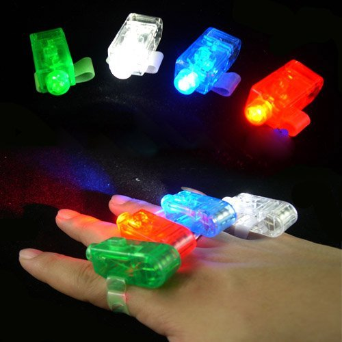 20pcs/lot Promotion Party Magic LED Laser Finger light Beam Ring 4 Laser Lamp Lighting Flashlight Gift