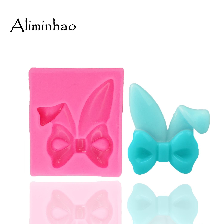 B1314 Rabbit ear shape Bow DIY fondant silicone mold for cake decorating tools chocolate gumpaste moulds Sugarpaste Bakeware