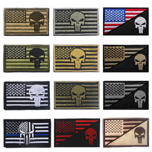 New American Flag Embroidery Punisher Armband Military Uniform Accessories Badge Sticker Hook Tactical Clothing Fabric
