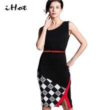 IHOT Women Summer Fashion Casual Sleeveless Plaid Belted Patchwork Sheath Irregular Hem Office Wear Pencil Dress