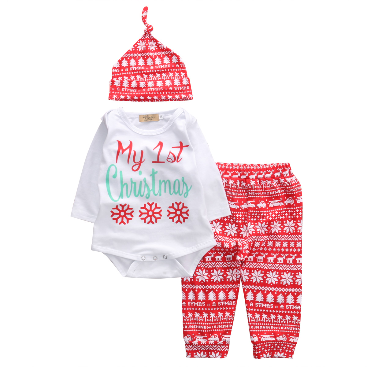 Fashion Christmas Set Newborn Kid Baby Boy Girl Xmas Clothes Letter Print Tops Red Snow Pants Hat 3PCS Outfit