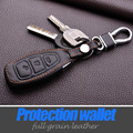 Leather Keychain Keyring Cover Case Holder For Ford 2013 2014 Focus 3 Fiesta Kuga Ecosport Fusion Key Fob Protector Accessories