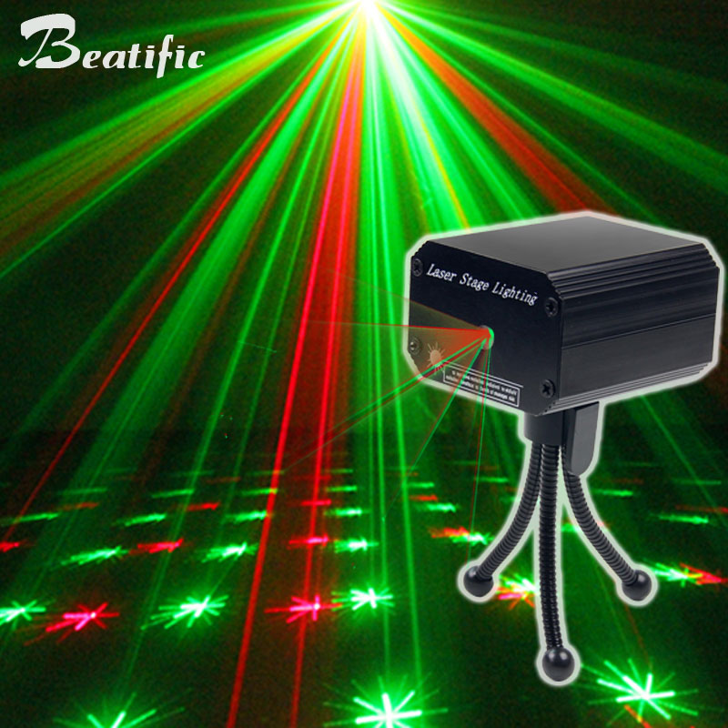 USB Sound Party Lights Mini Laser Projector Disco Light Double Color Change For Home Music Center Equipment