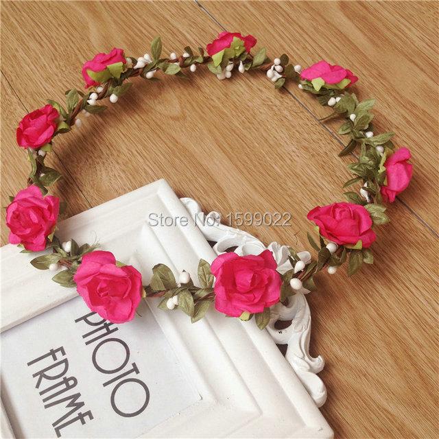 6pcs lot Music Festival Flower Crown Bridesmaid Hair Accessories Rustic  Wedding Headdress Bridal Flowers Hairband Women Circlet f6b8444eaf1
