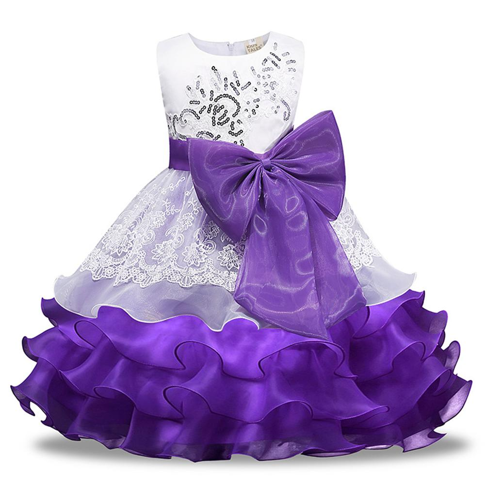 3 4 5 6 7 8 Year Girls Wedding Dress New 2018 Summer Style Children Princess Dresses for Party Bow Flower Formal Kids Clothes