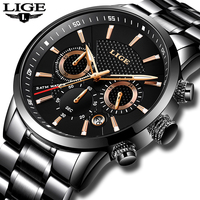LIGE Mens Watches Top Brand Luxury Waterproof Military Sport Watch Stainless Steel Multi function Quartz Clock Relogio Masculino