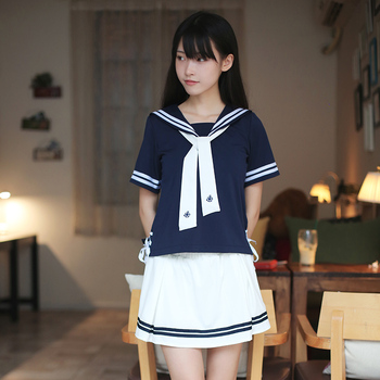 Japanese naval air white sailor suit female students dress uniforms jk tie short-sleeved suit uniforms cos College Wind japanese school uniforms anime cos sailor suit tops bow tie skirt jk navy style students clothes for girl short sleeve