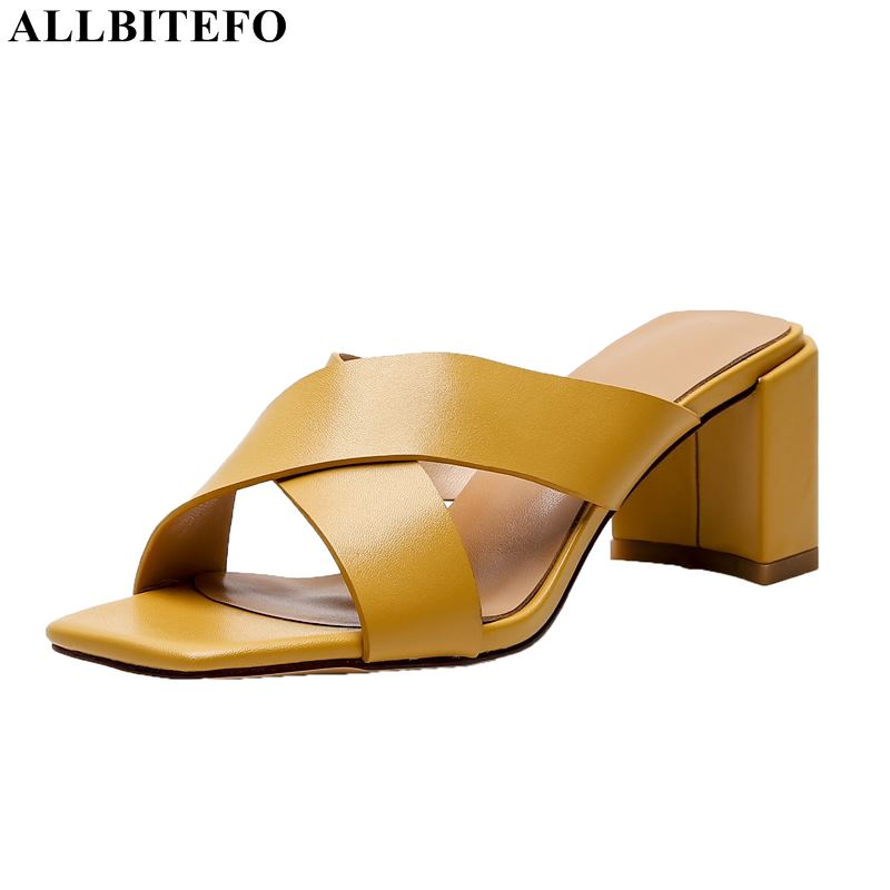 ALLBITEFO brand genuine letaher high heels party women shoes summer women Slipper women high heel shoes beach flip flops-in Slippers from Shoes    1