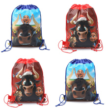 2018 Hot Movie Ferdinand theme non-woven fabrics drawstring backpack,boy schoolbag,shopping bag 34*27cm