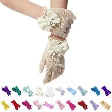 Детские маскарадные перчатки принцессы для маленьких девочек, платье Анны, митенки с бантом, Вечерние перчатки с принтом, детские перчатки без пальцев для девочек