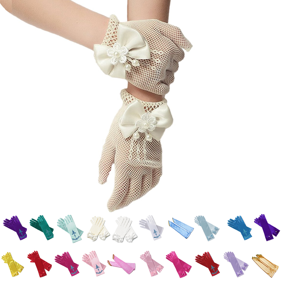 Kids Princess Cosplay Gloves Baby Girl Anna Dress Up Mitten Bows Printed Party Gloves Children Fingerless Oversleeve For Gilrs