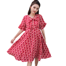 Maternity Plus Size Chiffon Dresses for Pregnant Summer Floral Red Bowknot  Collar Dress Pregnancy Elegant Fashion Beach Clothes 2b75fb1505d8