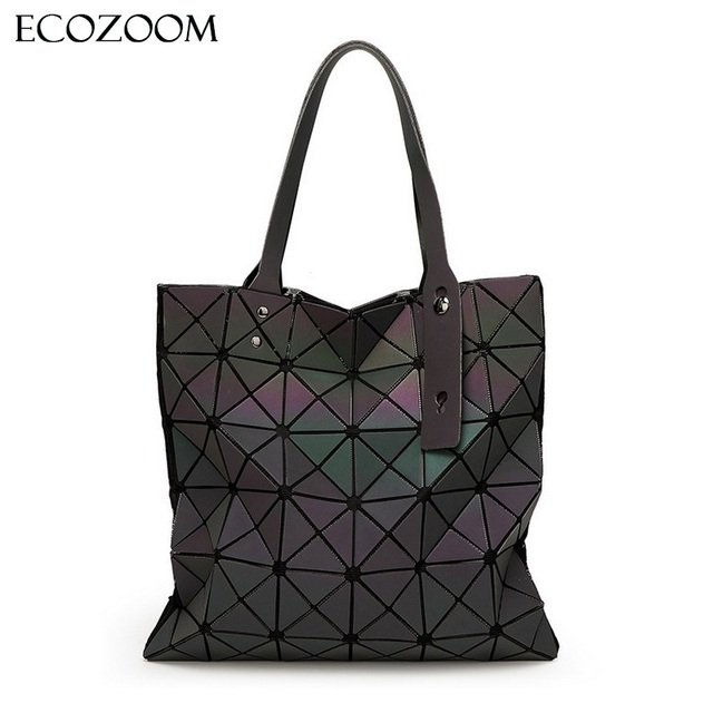 d9e0e48aa2f2 Fashion Women Geometry Luminous Handbag Matte Plain Folding Bag PU Casual  Tote Package Noctilucent Diamond Lattice Shoulder Bags