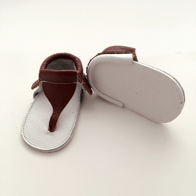 Handmade Brown &White Baby First Walkers Genuine Leather Infant Shoe