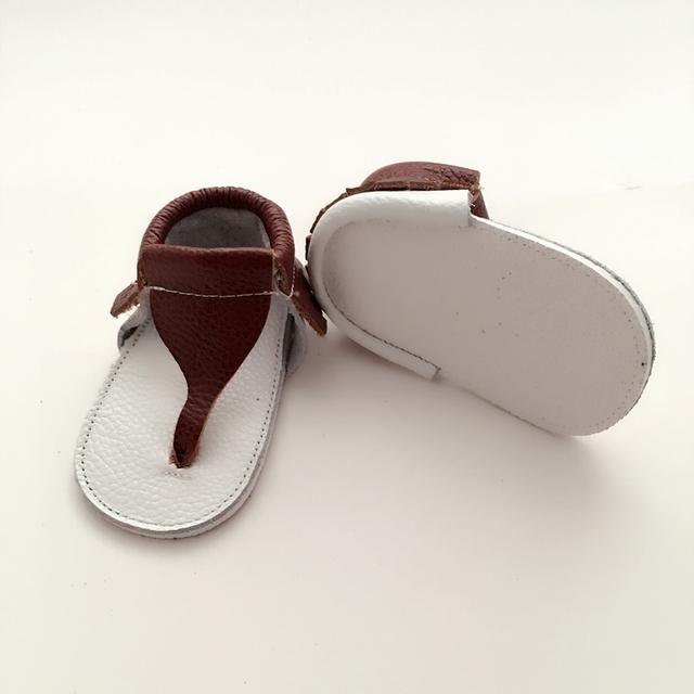 Handmade Brown & White Couro Genuíno Do Bebê Primeiros Caminhantes Sapato Infantil