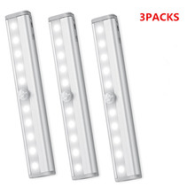 3 Pieces Cabinet Light  10 LED PIR Motion Sensor Led Wardrobe/Stairs Bar Night Safe Lights with Magnetic Strip