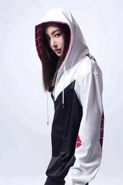 Women Girls Venom Hoodie Cosplay Spider Gwen Stacy Costume 3D Spiderman Superhero Zipper Jacket Hooded Sweatshirt Coat4