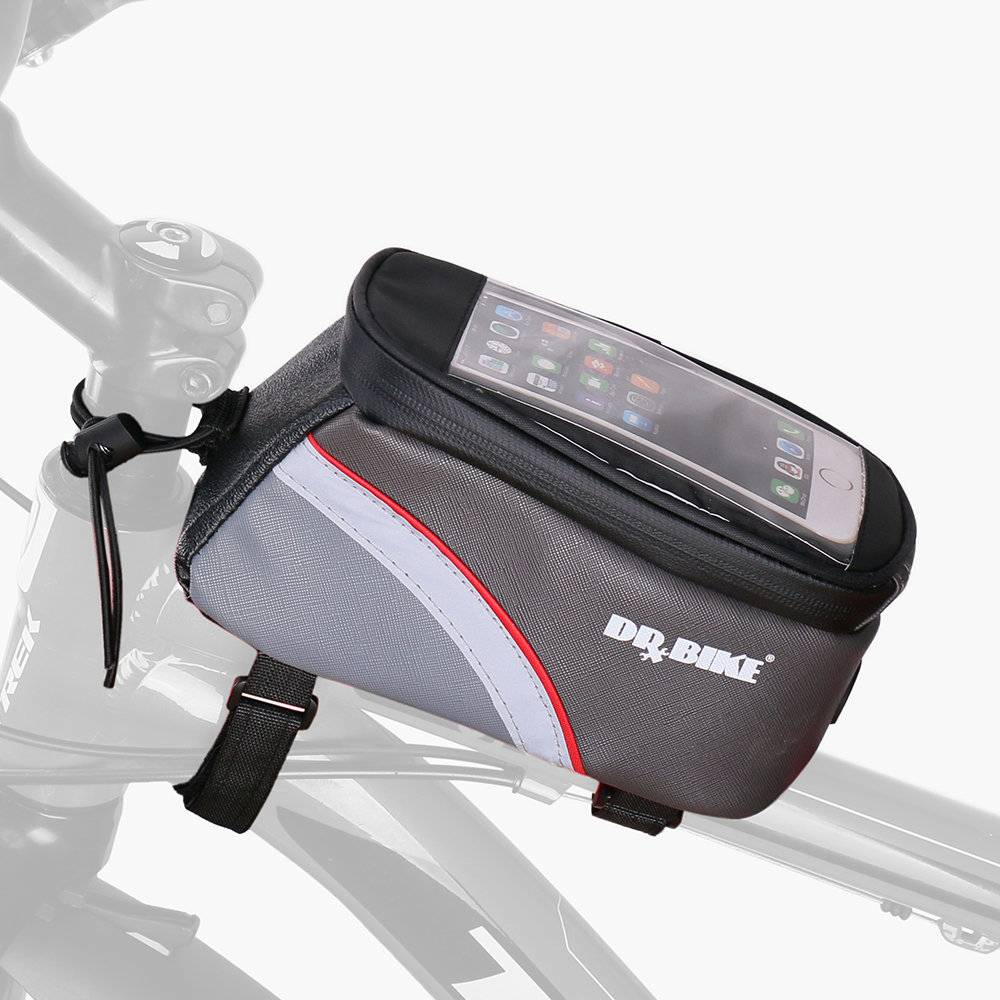 DRBIKE PU Material Waterproof <font><b>Bicycle</b></font> <font><b>Bag</b></font> <font><b>Bike</b></font> <font><b>Frame</b></font> Front Top Tube <font><b>Bag</b></font> Touch Screen for Moilbe Phone MTB Moutain Road <font><b>Bike</b></font> <font><b>Bag</b></font> image